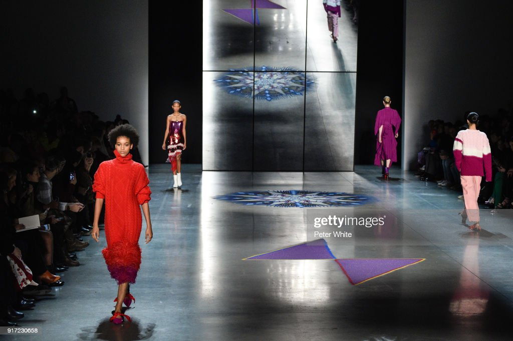 Manuela Sanchez walks the runway during the Prabal Gurung fashion show during New York Fashion Week at Gallery I at Spring Studios on February 11, 2018 in New York City.