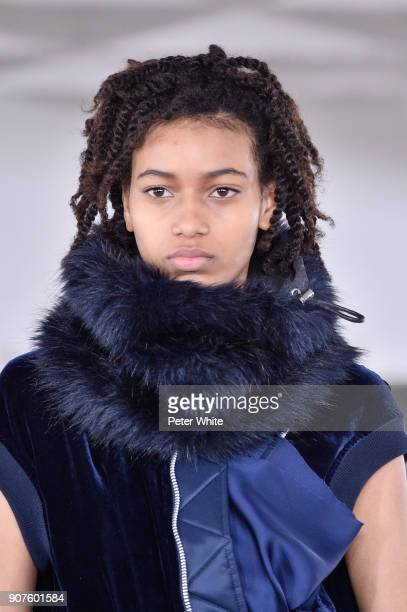 Manuela Sanchez walks the runway during the Sacai Menswear Fall/Winter 20182019 show as part of Paris Fashion Week on January 20 2018 in Paris France
