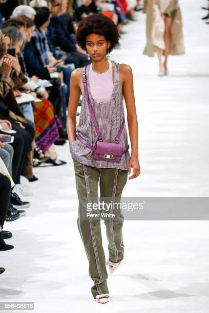 Manuela Sanchez walks the runway during the Valentino show as part of the Paris Fashion Week Womenswear Spring/Summer 2018 on October 1 2017 in Paris...