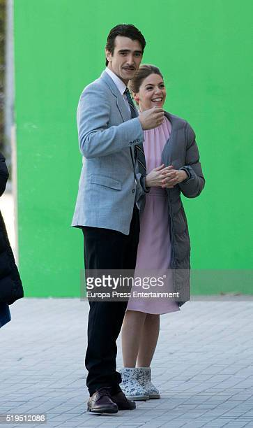 Manuela Velasco and actor Aitor Luna are seen during the set filming of 'Galerias Velvet' on March 17 2016 in Madrid Spain