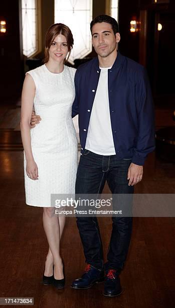 Manuela Velasco and Miguel Angel Silvestre are seen on set filming 'Galerias Velvet' on June 24 2013 in Madrid Spain