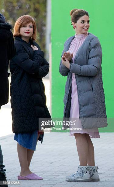 Manuela Velasco and Miriam Giovanelli are seen during the set filming of 'Galerias Velvet' on March 17 2016 in Madrid Spain