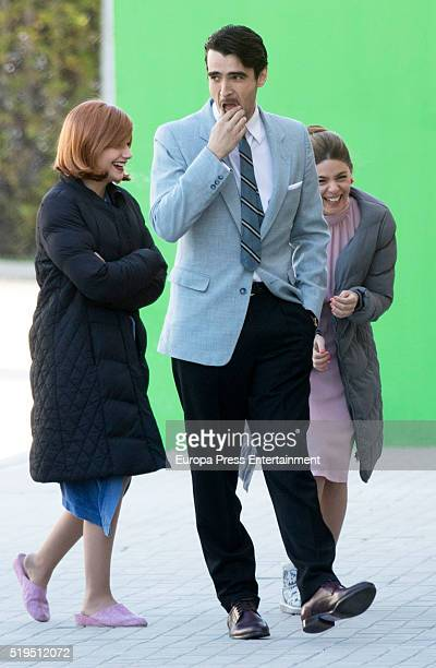 Manuela Velasco Miriam Giovanelli and actor Aitor Luna are seen during the set filming of 'Galerias Velvet' on March 17 2016 in Madrid Spain