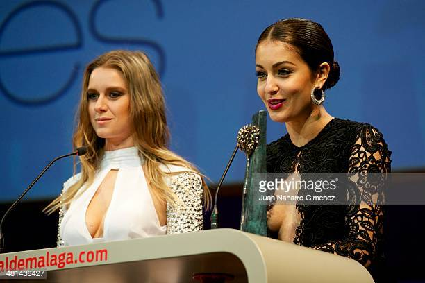 Manuela Velles and Hiba Abouk attend the 17th Malaga Film Festival 2014 closing ceremony at the Cervantes Theater on March 29 2014 in Malaga Spain