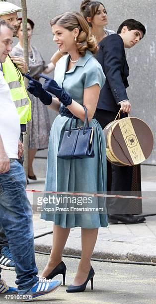 Manuela Velles is seen during the set filming of 'Galerias Velvet' on June 01 2015 in Madrid Spain