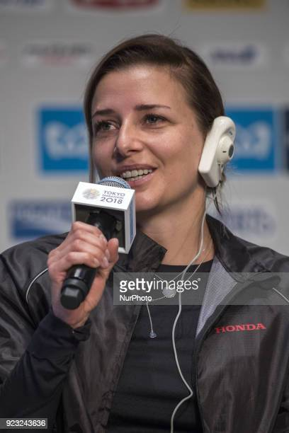 Manuela Wheelchair Athletes answers questions during a press conference for this weekend's Tokyo marathon in Tokyo on February 23 2018 The annual...