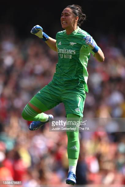 Manuela Zingsberger of Arsenal FC celebrates her sides third goal during the Barclays FA Women's Super League match between Arsenal Women and Chelsea...