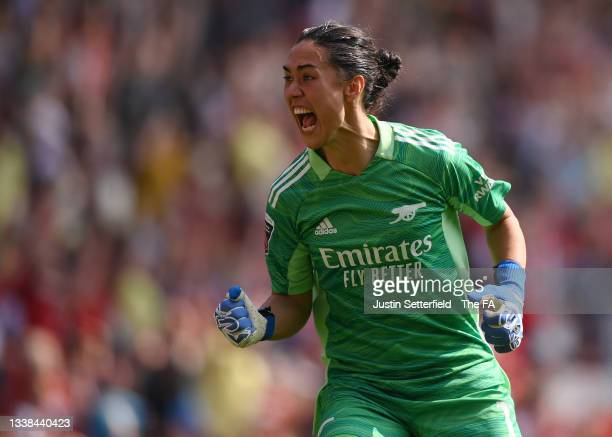 Manuela Zingsberger of Arsenal FC celebrates their sides second goal during the Barclays FA Women's Super League match between Arsenal Women and...