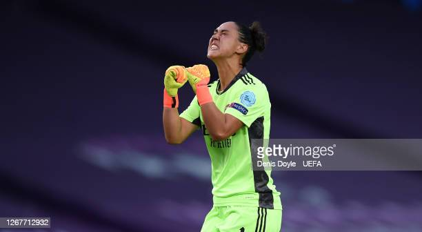 Manuela Zinsberger of Arsenal celebrates following her team's first goal during the UEFA Women's Champions League Quarter Final between Arsenal FC...