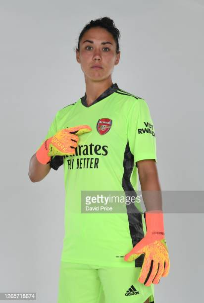 Manuela Zinsberger of Arsenal during the Arsenal Women's Photocall at London Colney on August 12, 2020 in St Albans, England.