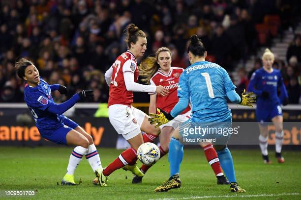 Manuela Zinsberger of Arsenal saves a shot from Sam Kerr of Chelsea during the FA Women's Continental League Cup Final Chelsea FC Women and Arsenal...