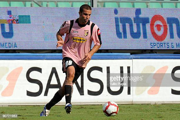 Manuele Blasi of Palermo in action during the Serie A match played between US Citta di Palermo and AS Bari at Stadio Renzo Barbera on September 13,...