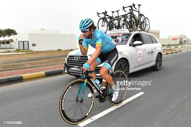 Manuele Boaro of Italy and Astana Pro Team / Car / during the 5th UAE Tour 2019 Stage 6 a 180km stage from Ajman to Jebel Jais 1475m / #UAETour / on...