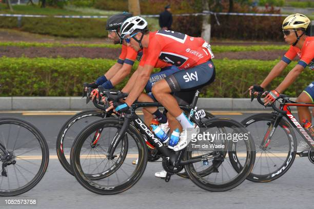 Manuele Boaro of Italy and Team BahrainMerida / Gianni Moscon of Italy and Team Sky Red Leader Jersey / during the 2nd Tour Of Guangxi 2018 Stage 5 a...