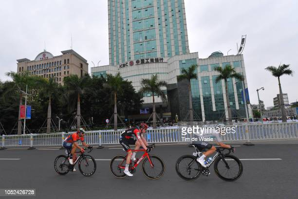 Manuele Boaro of Italy and Team BahrainMerida / Nathan Van Hooydonck of Belgium and Bmc Racing Team / Owain Doull of Great Britain and Team Sky /...