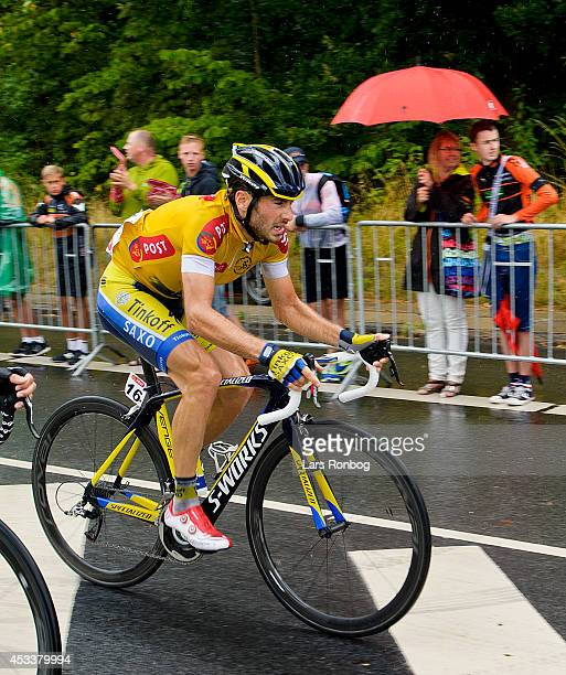 Manuele Boaro of Tinkoff Saxo in the leaders yellow jersey during stage four of the Tour of Denmark between Nyborg and Odense on August 9 2014 in...