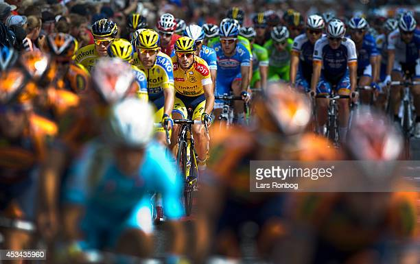 Manuele Boaro of Tinkoff Saxo in the leaders yellow jersey during stage six of the Tour of Denmark between Kalundborg and Frederiksberg on August 10...