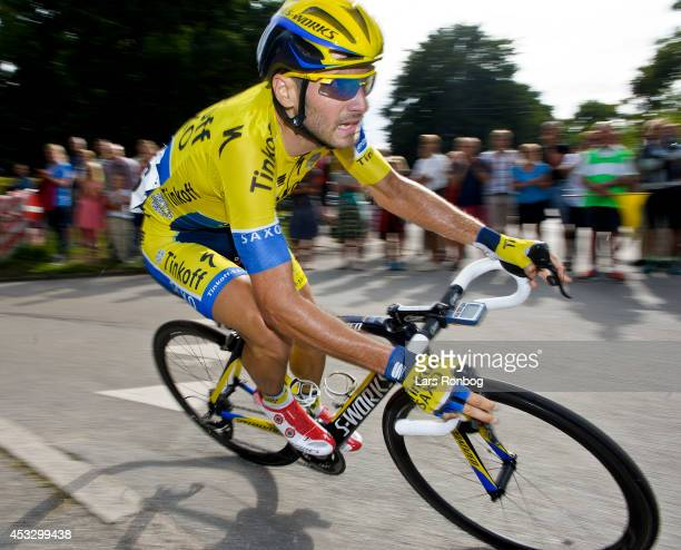 Manuele Boaro of Tinkoff Saxo turns a corner during stage two of the Tour of Denmark between Skive and Aarhus on August 7 2014 in Aarhus Denmark