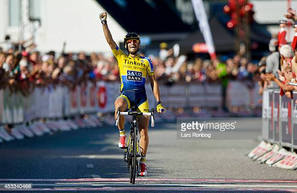 Manuele Boaro of Tinkoff Saxo wins stage three of the Tour of Denmark between Skanderborg and Vejle on August 8 2014 in Vejle Denmark
