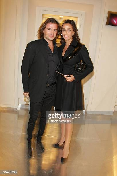 Manuele Malenotti and Anna Kanakis attend the Belstaff new flagship store opening December 13, 2007 in Rome, Italy.