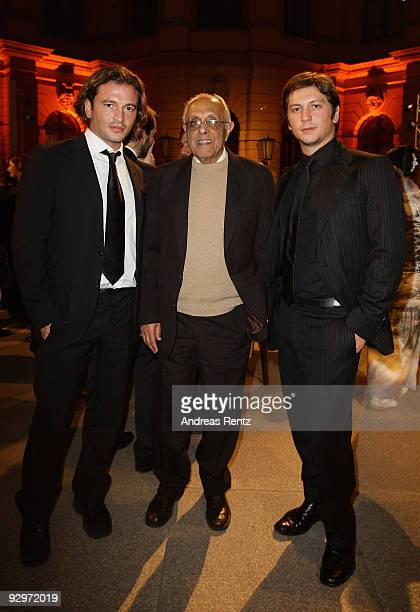 Manuele Malenotti and Michele Malenotti vice presidents of Belstaff and South African politician Ahmed Mohamed Kathrada attend the gala dinner...
