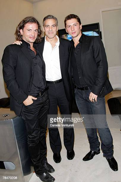 Manuele Malenotti Gorge Clooney and Michele Malenotti attends the Belstaff new flagship store opening December 13 2007 in Rome Italy