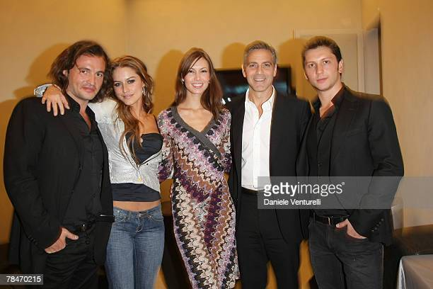 Manuele Malenotti Lola Ponce Sarah Larson Gorge Clooney and Michele Malenotti attends the Belstaff new flagship store opening December 13 2007 in...