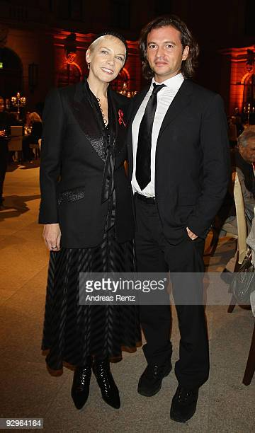 Manuele Malenotti vice president of Belstaff and musician Annie Lennox attend the gala dinner BELSTAFF FOR PEACE to the 10th World Summit of Nobel...