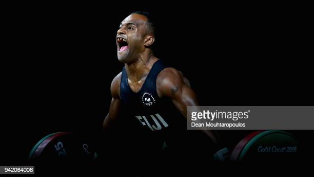 Manueli Tulo of Fiji competes during the Weightlifting Men's 56kg Final on day one of the Gold Coast 2018 Commonwealth Games at Carrara Sports and...