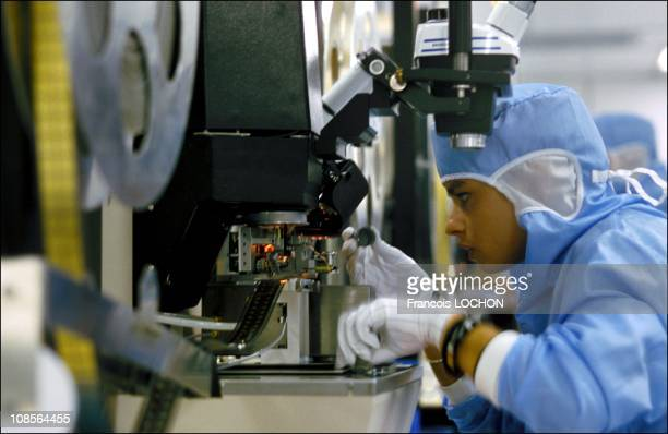 Manufacture of chip cards in Gemenos France in January 1993