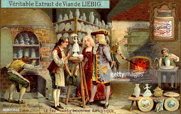Manufacture of porcelain in the 18th century 'Fire in the Artistic Industry' French advertisement for Liebig's extract of meat