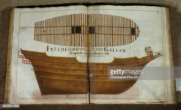 Manuscript CrossSection of a Vessel from the Book of Captaincy of Manuel Fernandez Lisbonne Musee National D Art Antique