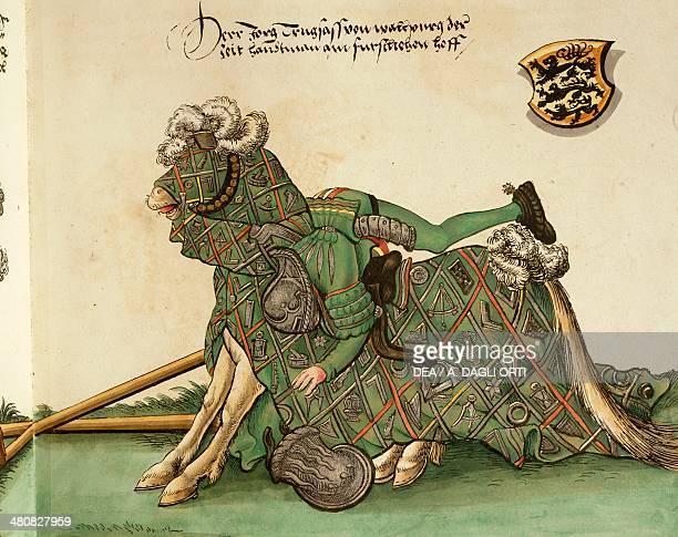Manuscript Germany 16th century Herzog Wilhelm des Vierten von Bayern Turnier Buch Scene depicting Jorg Truglas von Mallpurg dying in a duel...