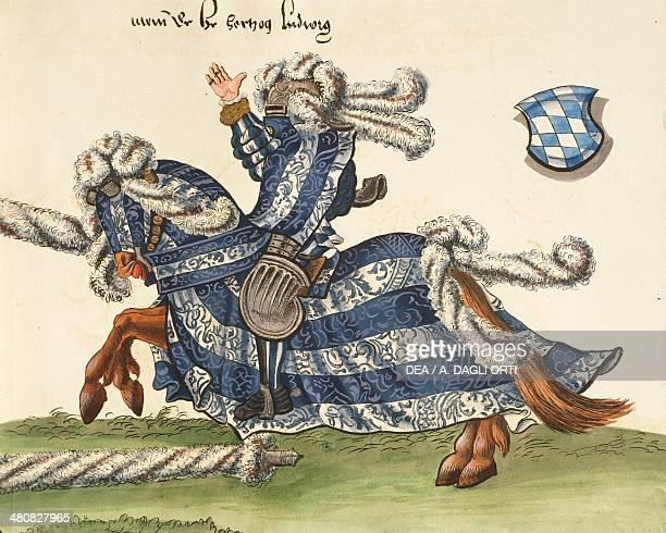 Manuscript Germany 16th century Herzog Wilhelm des Vierten von Bayern Turnier Buch Scene depicting Wilhelm von Bayern clashing in the tournament with...