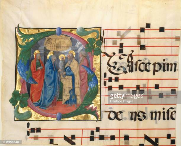 Manuscript Illumination with the Presentation in the Temple in an Initial S, from a Gradual, Italian, 1450-60. Artist Unknown.