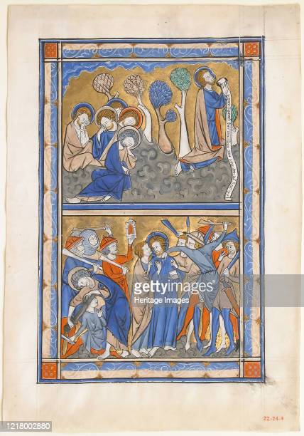 Manuscript Leaf with the Agony in the Garden and Betrayal of Christ from a Royal Psalter circa 1270 Jesus prays in the Garden of Gethsemane in...