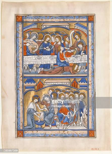Manuscript Leaf with the Last Supper and the Washing of the Apostles? Feet Leaf, from a Royal Psalter, British, circa 1250-70. Artist Unknown.
