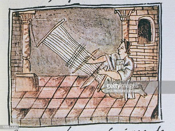 Manuscript Mexico 16th century Aztec woman weaving at the loom From The Code of Florence 'Historia general de las cosas de Nueva Espana' by Fra...