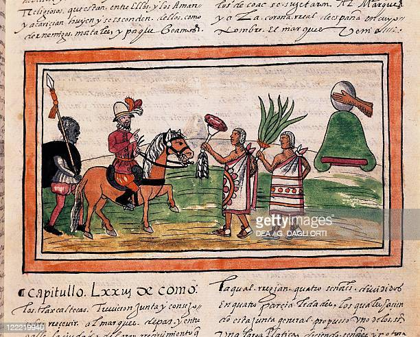 Manuscript Mexico 16th century Diego Duran 'History of the Indians' Cortes being welcomed by Indians to the beating of drums Miniature