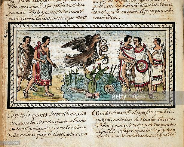 Manuscript Mexico 16th century Diego Duran The History of the Indies of New Spain 1579 Foundation of Tenochtitlan Miniature folio 14 verso