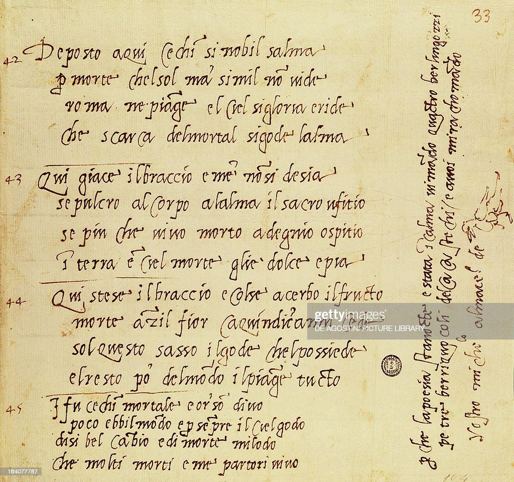 Manuscript of a poem by Michelangelo Buonarroti... : Photo d'actualité