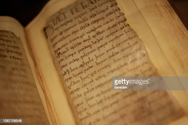 manuscript of beowulf in the british library london uk - manuscript stock pictures, royalty-free photos & images