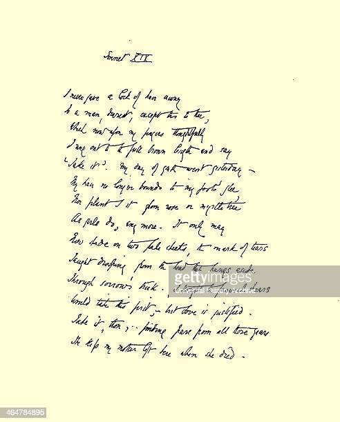 Manuscript of Sonnet XIX 'I never gave a lock of hair away by Elizabeth Barrett Browning from her sequence 'Sonnets from the Portuguese' first...