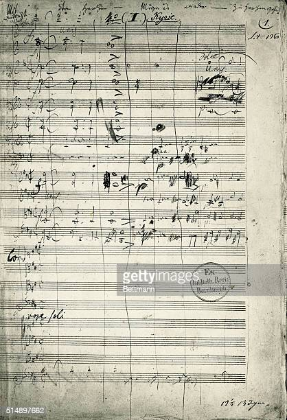A manuscript page from classical composer Ludwig van Beethoven's Missa Solemnis mass