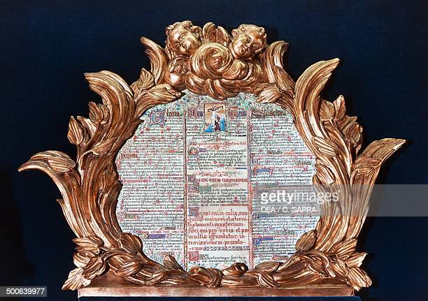 Manuscript page kept in the treasury of NotreDame Cathedral Paris IledeFrance France