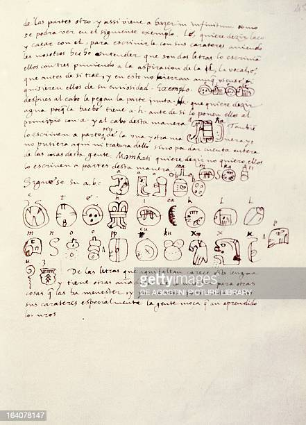 Manuscript page with the Mayan alphabet from The relationship of the things of the Yucatan by Diego de Landa 1566 Madrid Real Academia De Bellas...