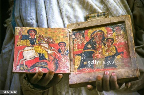 manuscripts in ashetan maryam and the church of yimrehane kristos, lalibela, ethiopia - east africa stock photos and pictures
