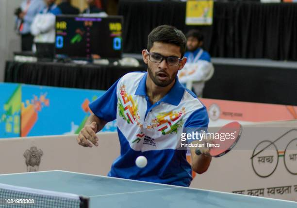 Manush Shah of Gujarat in action during boys Table Tennis match under 21 category at Khelo India Youth Games 2019 at Shree Shiv Chhatrapati Sports...