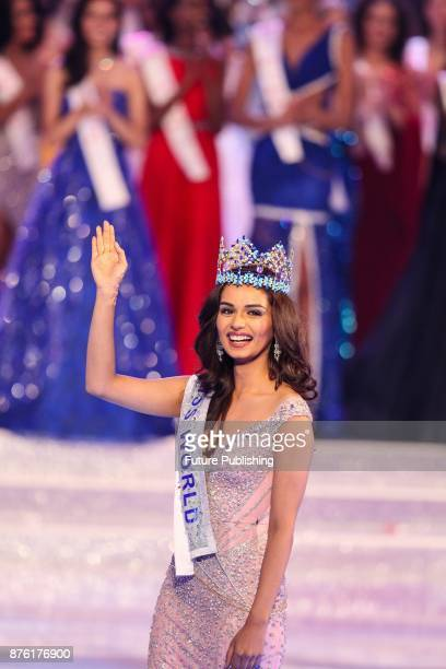 Manushi Chhillar of India the new Miss World waves to the audience in the award ceremony of Miss World 2017 in Sanya in south China's Hainan province...