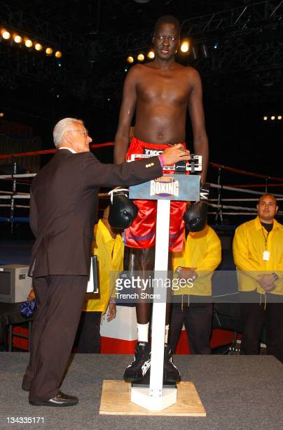 Manute Bol during Celebrity Boxing 2 WeighIn at KTLA Studios in Hollywood California United States